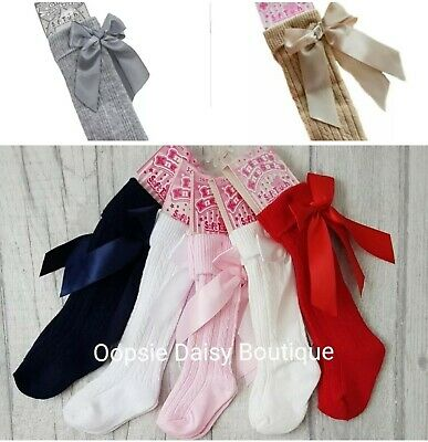 ☆ Girls Knee High Ribbed Ribbon Socks 0-6 yrs ☆ Camel & Grey also ☆