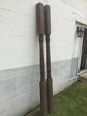 """2 Antique Victorian Solid Turned Wood 96"""" Porch Column Pillar Post -Local Pickup"""