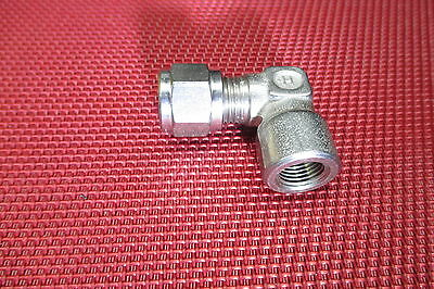 "Hoke® 1/4"" Tube OD x 1/8"" NPT Pipe FEMALE ELBOW CONNECTOR 316 Stainless Steel 90"