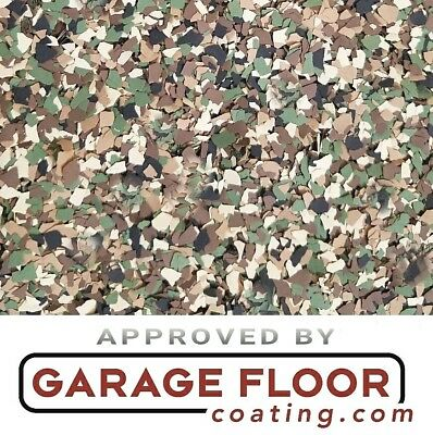 """5 lbs - Decorative Color Chip Flakes for Epoxy Floor Coatings, 1/4"""" CAMO Blend"""