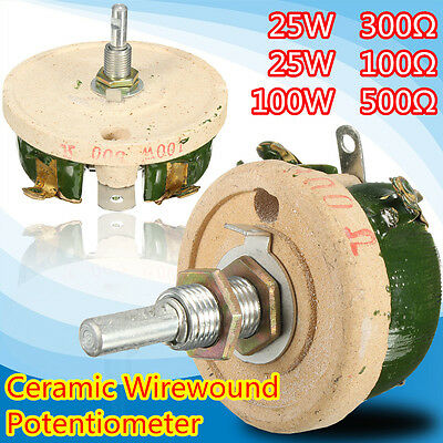 100/300/500 OHM 25W/100W Ceramic Disk Wirewound Potentiometer Variable Resistor