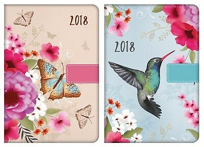 2018 A5 Day a Page Monthly Indexed Fabric Organiser Diary Butterfly Bird Design