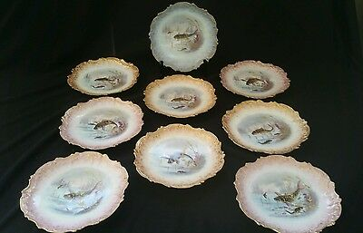(9) Antique French Limoges Ls&s Lewis Straus & Sons Hp Fish Plates  19Th C