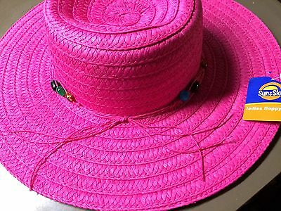 Women/'s Pink Floppy Sun Hat By Sun /& Sky OSFM New Old Stock