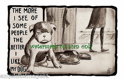 """1910 Art~""""The More I See of Some People,Better I Like My Dog""""~NEW Lge Note Cards"""