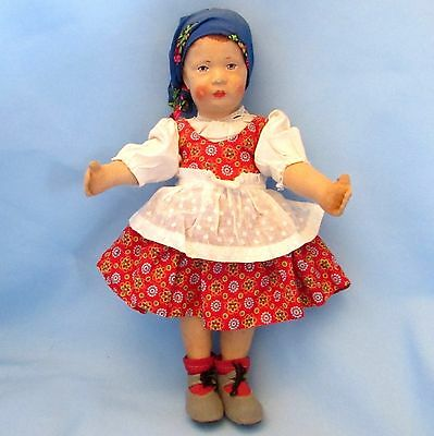 "Poutyy 12"" Antique Oilcloth German Art Doll by Gebruder Bing c1913"