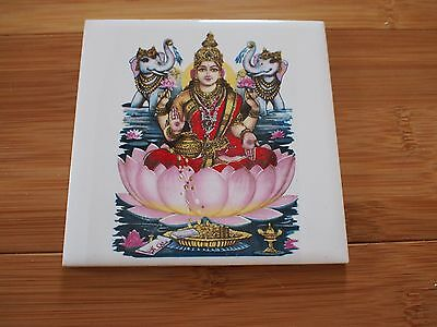 Vintage Old Collectible Rare Hindu God Figure Ceramic 4x4 Wall Tile #2 Orient