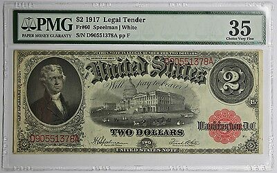 FR. 60 1917 $2 Legal Tender Note Choice Very Fine 35 PMG Speelman White