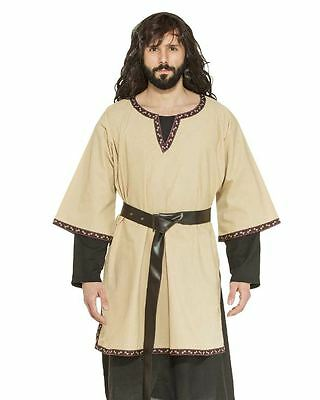 Medieval Tunic Men's Tan Cotton 3/4 Sleeve Historical Costume Garb