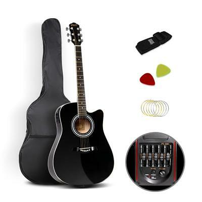 """NEW 41"""" 5- Band EQ Electric Acoustic Guitar Full Size Black"""