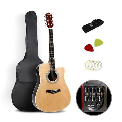 """NEW 41"""" 5- Band EQ Electric Acoustic Guitar Full Size Natural"""