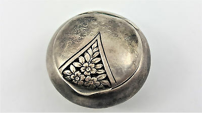 Antique Silver Pillbox, Engraved With Flower Ornaments