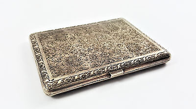 Antique Persian Silver Cigarette Case Hand Engraved With Eastern Ornaments