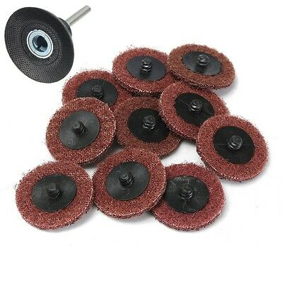 10Pcs 2'' Roloc Sanding Disc Scotch Brite Roll Lock Coarse Surface With 1 Holder