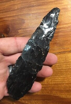 "5.5"" Obsidian Knife Chisel  Pre-Columbian Colima Indian"