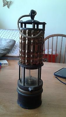"Antique WOLFS Safety Mining Miners Lamp Light 11"" Brooklyn NY"