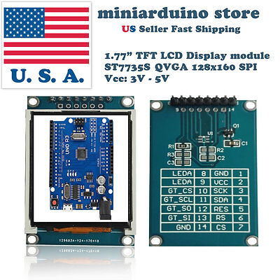 1.77 inch 1.8 TFT Color Display Module Breakout SPI ST7735S for Arduino UNO/MEGA