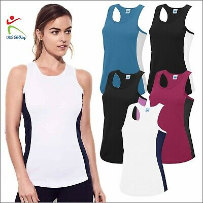 AWDis Ladies Contrast Cool Vest Gym Training Racerback Tank Top Sports Tee Shirt