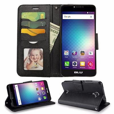 BLU R1 Plus R0071UU Leather Flip Wallet Credit Card Slots Case Protective Cover