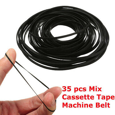 35PCS 3MM Wide 40-135MM Mix Cassette Tape Machine Belt Assorted Common Universal