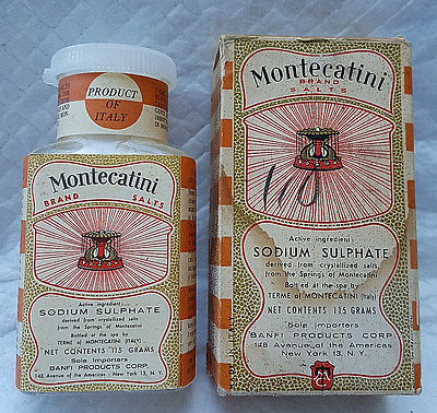 Rare Full Antique Bottle Of Montecatini Salts For Constipation (Made In Italy)