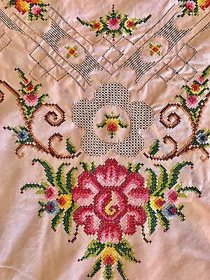 Antique hand embroidered crosstitch tablecloth