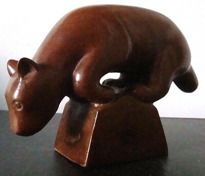 Vtg American Mountain Lion Cougar Figurine Hand Carved Solid Wood Sculpture