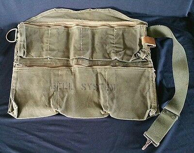 Old Bell System Lineman Canvas Tool Work Bag Telephone Worker Leather Loop