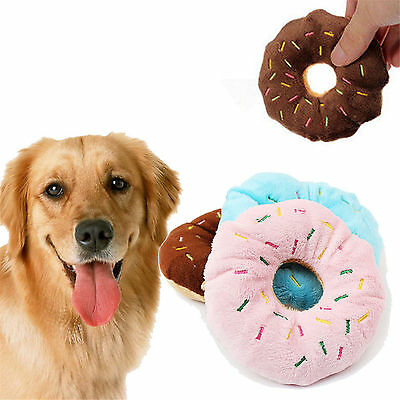 Fab Cute Pet Dog Puppy Cat Tugging Squeaker Quack Sound Toy Chew Donut Play Toys