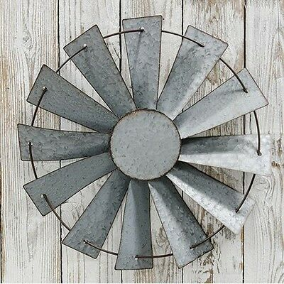 Galvanized Farmhouse Windmill Hanging Decor Vintage Antique Style Farm