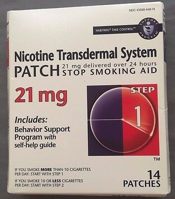 Nicotine Transdermal System Patch 21 MG Step 1 New Patches 14 in box