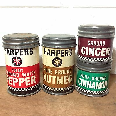 Lot of Vintage HARPERS Spice Containers