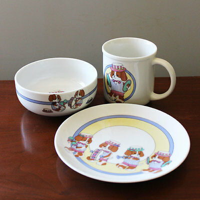 Vintage Show Dogs 1980s Cute Children Dish Set Mug Bowl Plate Japan Kawaii Puppy