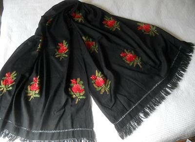 Stunning Vintage Red Flowers Embroidery Black Kashmir Cashmere Wool Shawl