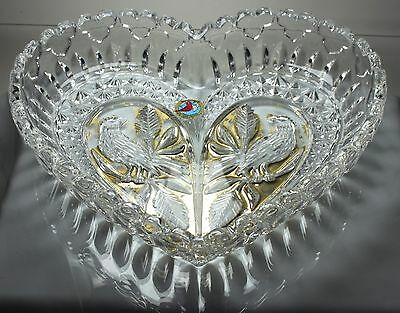 Hofbauer  Byrdes Lead Crystal  HEART SHAPED DISH with Birds GOLD