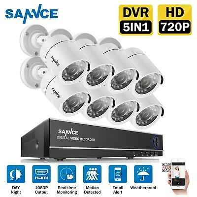 SANNCE 720P 1500TVL TVI 8CH 1080N 5IN1 DVR Security Camera  Monitoring System HD