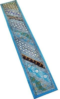 """60"""" Antique Decor Beaded Sequin Pearl Sari Tapestry Wall Hanging Throw Runner"""