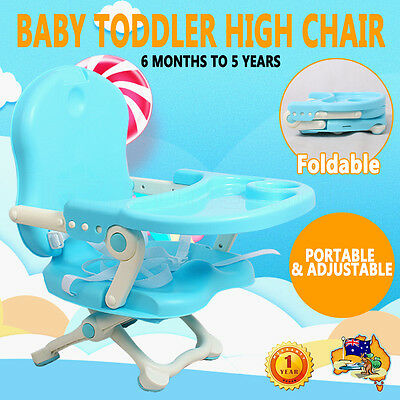Foldable Stylish Flexible Portable Baby Dining Seat Safe Highchair Booster Blue