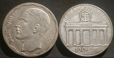 German 1933  Adolf Hitler Token Coin WW2 Third Reich