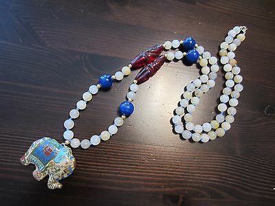 Antique Chinese Cloisonne Enamel Elephant Pendant Jade Lapis Crystal Necklace