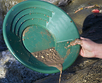 "14"" Green Plastic Gold Pan Mining Nugget Prospecting Dredging River Panning New"