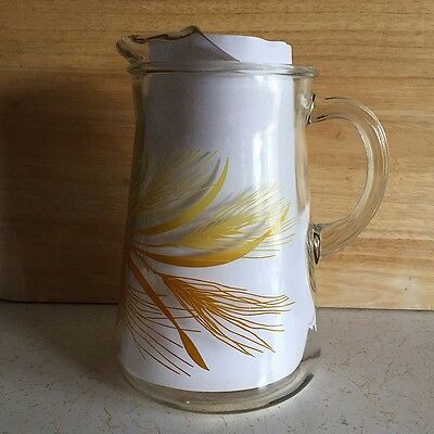 Vintage Libbey Golden Wheat Glass Pitcher with Ice Lip 80 Ounce