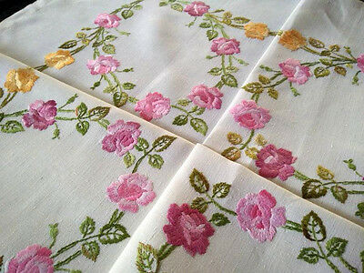 """Divine Roses (old country?) Roses ~ Hand Embroidered Vintage Tablecloth 41.5""""sq"""