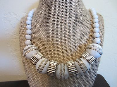 "Magnificent Chinese LUCITE Chunky Carved 925 Silver Beads Necklace 23"" VARY RARE"
