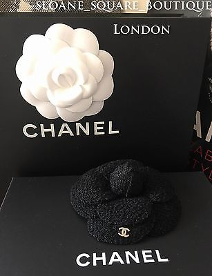 Authentic Chanel Exquisite Black Tweed & Gold Cc Camellia Pin Brooch ** Rare **