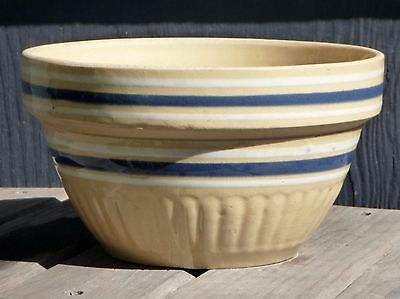 """Vintage Yellow Ware Bowl Ribbed with Blue and White Bands 7"""""""