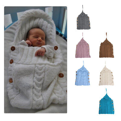 Newborn Baby Hooded Swaddle Wrap Warm Knit Swaddling Blanket Sleeping Bag Hot