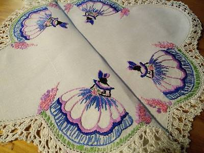 Exquisite Crinoline Lady & Hollyhocks ~ Vintage Heavily Hand embroidered Centre