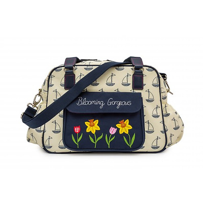 Pink Lining Blooming Gorgeous Navy Boats on Cream   Baby Nappy Changing Bag BNIP