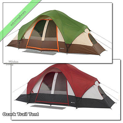 8 Person Ozark Trail Tent 2 Room Outdoor Large Family Camping Dome Tents, 16'x8'